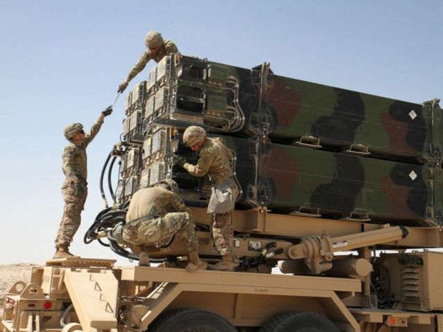 PHOTO: Soldiers from Battery C, 43rd Air Defense Artillery Regiment work together to prepare a Patriot missile launcher for reloading March 7, 2019.