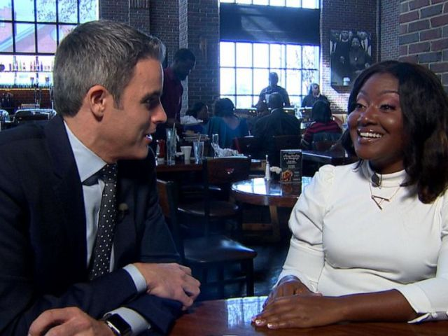 PHOTO: ABC News Devin Dwyer talks with Alisha Cromartie at Paschals Soulfood about impeachment and the Democratic presidential primary, Nov. 17, 2019.