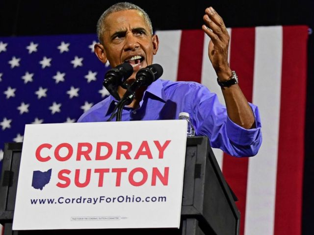 PHOTO: Former President Barack Obama speaks as he campaigns in support of Ohio gubernatorial candidate Richard Cordray, Sept. 13, 2018, in Cleveland.