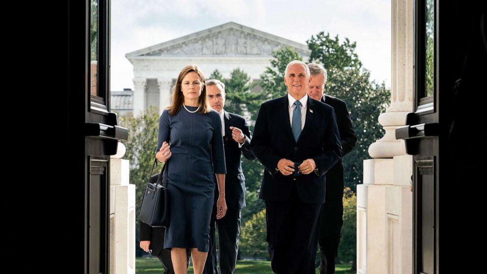 Supreme Court nominee Amy Coney Barrett meets with GOP senators thumbnail