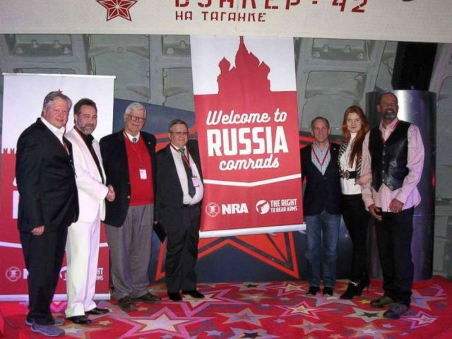 PHOTO: In a December 2015 Facebook post, a Russian gun-rights enthusiast praised the American approach to regulating weapons and shared a photo showing high-ranking NRA members posing alongside Alexander Torshin, 4th-L, and Maria Butina, 2nd-R.
