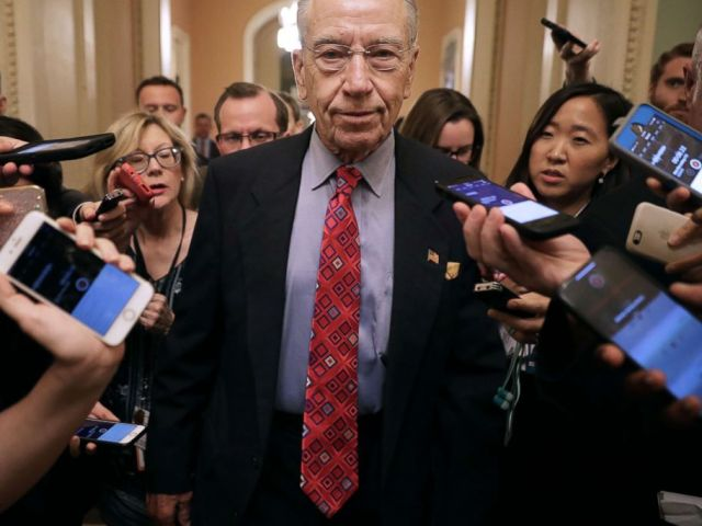 PHOTO: Senate Judiciary Committee Chairman Charles Grassley talks with reporters as he leaves a meeting in Senate Majority Leader Mitch McConnells office at the Capitol, Sept. 24, 2018, in Washington, DC.