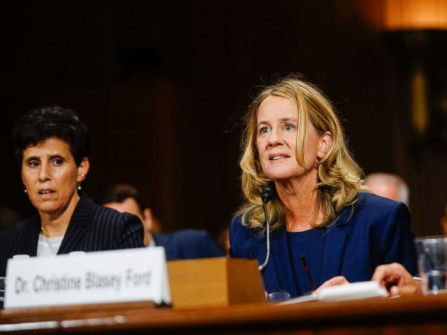 PHOTO: Christine Blasey Ford, with lawyer Debra S. Katz, left, answers questions at a Senate Judiciary Committee hearing, Sept. 27, 2018, on Capitol Hill.