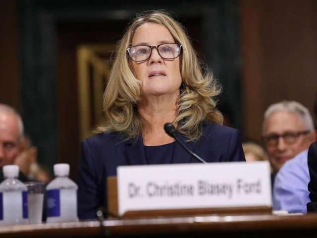 PHOTO: Christine Blasey Ford prepares to testify before the Senate Judiciary Committee in the Dirksen Senate Office Building on Capitol Hill, Sept. 27, 2018.