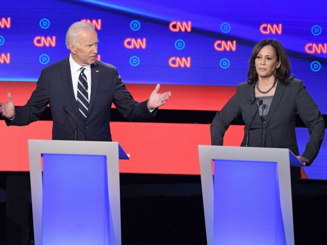 PHOTO: Democratic presidential hopefuls former Vice President Joe Biden and Sen. Kamala Harris speak during the second round of the second Democratic primary debate in Detroit, July 31, 2019.