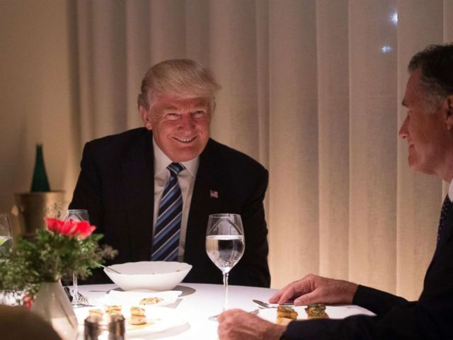 PHOTO: Then President-elect Donald Trump dines with Mitt Romney at Jean-Georges restaurant at Trump International Hotel and Tower, Nov. 29, 2016 in New York.
