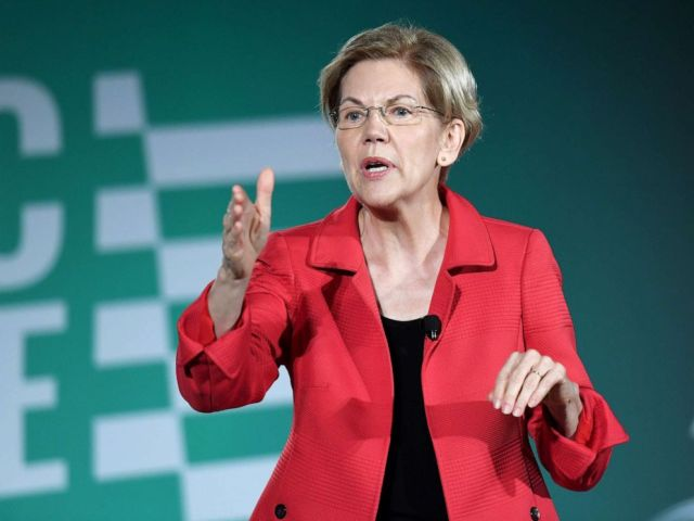 PHOTO: Democratic presidential candidate and Sen. Elizabeth Warren speaks during the 2020 Public Service Forum hosted by the American Federation of State, County and Municipal Employees (AFSCME) at UNLV, Aug. 3, 2019, in Las Vegas.