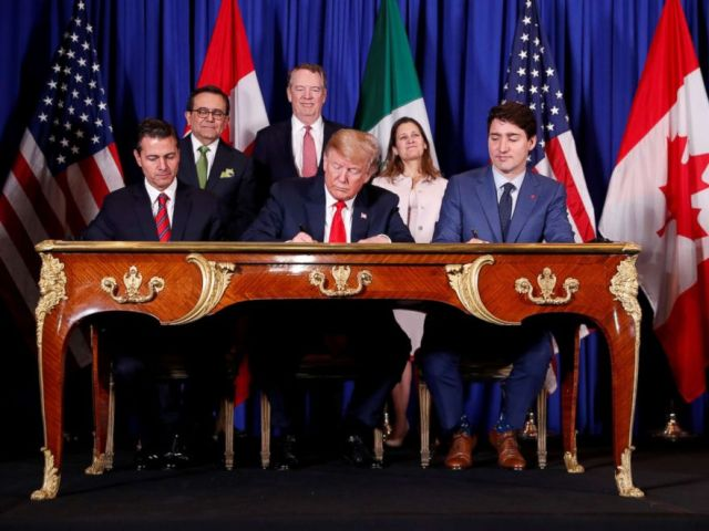 PHOTO: Mexicos President Enrique Pena Nieto, President Donald Trump and Canadas Prime Minister Justin Trudeau attend the USMCA signing ceremony before the G20 leaders summit in Buenos Aires, Argentina, Nov. 30, 2018.