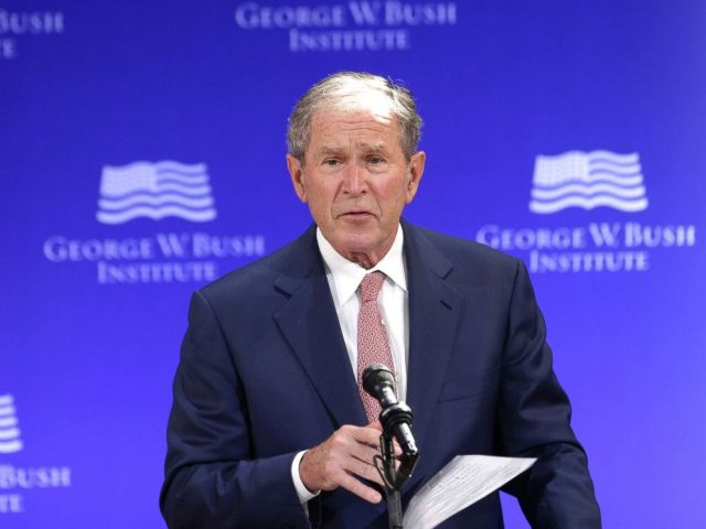 PHOTO: Former President George W. Bush speaks at a forum sponsored by the George W. Bush Institute in New York City, Oct. 19, 2017.