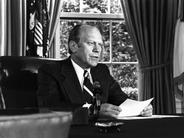 PHOTO: President Gerald Ford informs the American people of his decision to pardon Richard Nixon of any crimes he may have committed during the Watergate scandal. Washington D.C., Sept. 8, 1974.