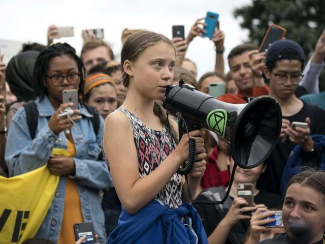 PHOTO: Teenage Swedish climate activist Greta Thunberg delivers brief remarks surrounded by other student environmental advocates during a strike to demand action be taken on climate change outside the White House on Sept. 13, 2019 in Washington.