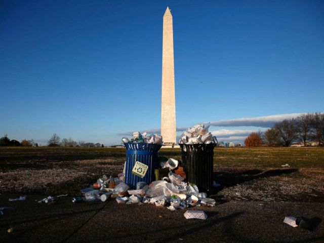 PHOTO: Trash begins to accumulate along the National Mall near the Washington Monument due to a partial shutdown of the federal government in Washington, D.C., Dec. 24, 2018.