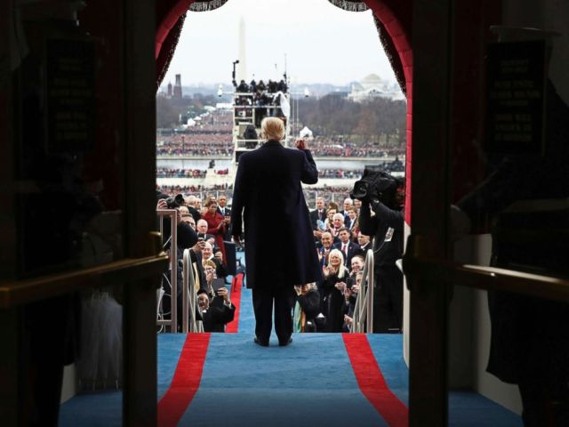 PHOTO: President-elect Donald Trump arrives on the West Front of the U.S. Capitol, Jan. 20, 2017, in Washington, for his inauguration.