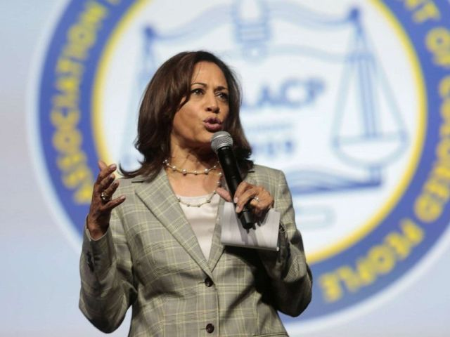 PHOTO: Democratic U.S. Presidential candidate Senator Kamala Harris addresses the audience during the Presidential candidate forum at the annual convention of the National Associationfor theAdvancementofColored People(NAACP).
