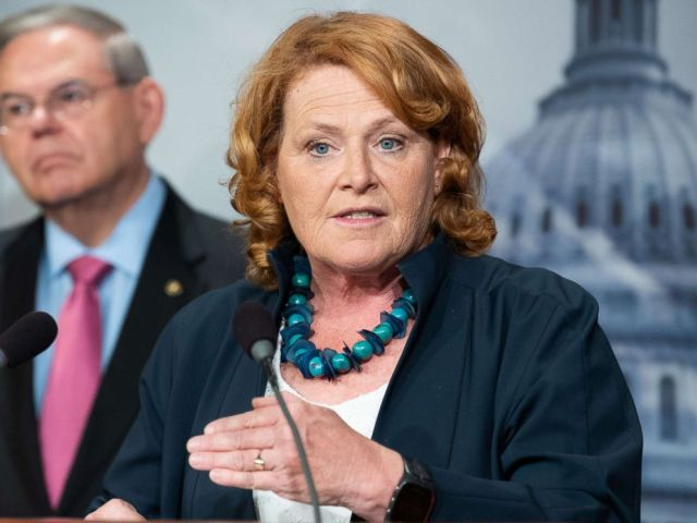 PHOTO: Senator Heidi Heitkamp speaks at a press conference about the proposed Central American Reform And Enforcement Act at the Capitol, June 27, 2018.