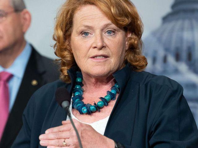 PHOTO: Senator Heidi Heitkamp gives a press conference at the U.S. Capitol, June 27, 2018, in Washington, D.C.