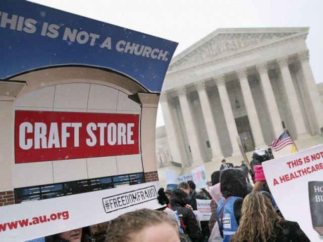 PHOTO: Demonstrators rally outside of the Supreme Court during oral arguments in Sebelius v. Hobby Lobby, March 25, 2014, in Washington, D.C.