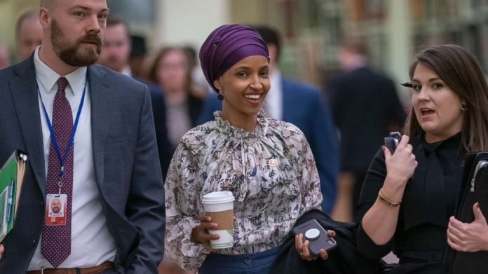 Representative Ilhan Omar walks through an underground tunnel in the Capitol, while the top Democrats of the Parliament intend to offer a measure condemning anti-Semitism following the controversial statements made by congressmen on March 6, 2019 in Washington, DC , Omar said last week that Israeli supporters are forcing American legislators to make a promise