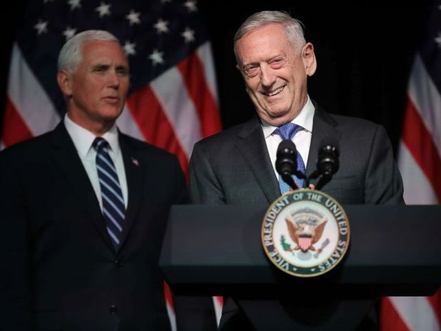 PHOTO: Defense Secretary James Mattis introduces Vice President Mike Pence before he announces the Trump Administrations plan to create the U.S. Space Force by 2020 at the Pentagon, Aug. 9, 2018, in Arlington, Virginia.