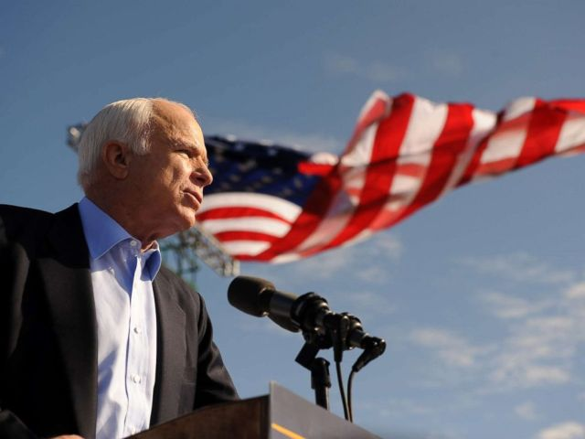 PHOTO: Sen. John McCain speaks at a campaign rally at Raymond James Stadium in Tampa, Florida, Nov. 3, 2008.