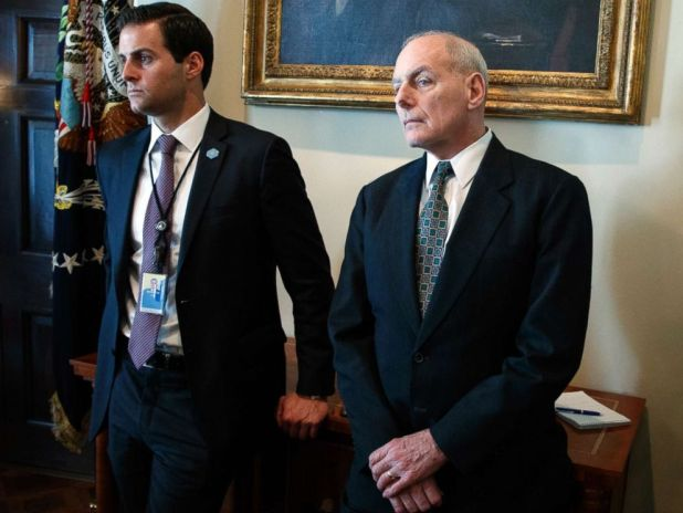 PHOTO: John McEntee and John Kelly listen as President Donald Trump speaks during a meeting with lawmakers about trade policy in the Cabinet Room of the White House, Tuesday, Feb. 13, 2018, in Washington.