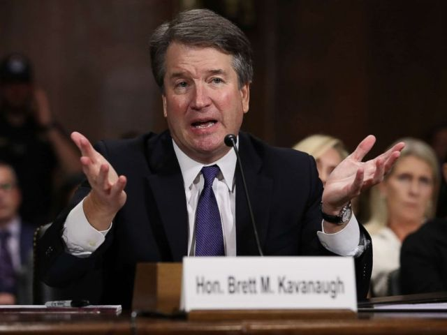 PHOTO: Judge Judge Brett Kavanaugh testifies to the Senate Judiciary Committee during his Supreme Court confirmation hearing, September 27, 2018 in Washington, DC.