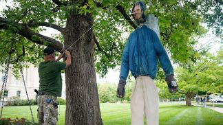 Democrats and Republicans Denounce Gun Rights Activists for Hanging Effigy of Kentucky Gov. Andy Beshear from Tree Outside State Capitol During Protest