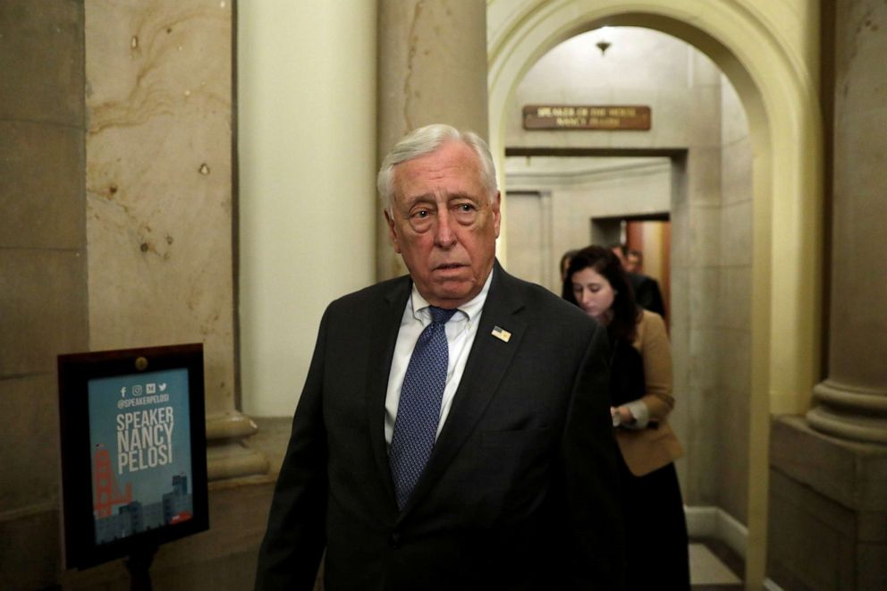 PHOTO: House Majority Leader Steny Hoyer walks out from the House Speaker Nancy Pelosi office on Capitol Hill, March 13, 2020.