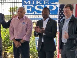 PHOTO: U.S. Senate candidate Mike Espy, left, attends a campaign rally in Biloxi, Miss., Oct. 27, 2018.