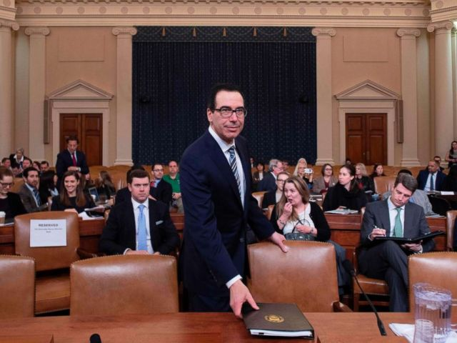 PHOTO: Treasury Secretary Steven Mnuchin prepares to testify on The Presidents FY2020 Budget Proposal before the House Ways and Means Committee on Capitol Hill in Washington, D.C, March 14, 2019.