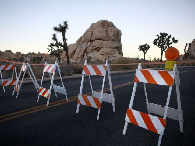 PHOTO: Barricades block a closed campground at Joshua Tree National Park during a partial government shutdown on Jan. 4, 2019, in Joshua Tree National Park, Calif.
