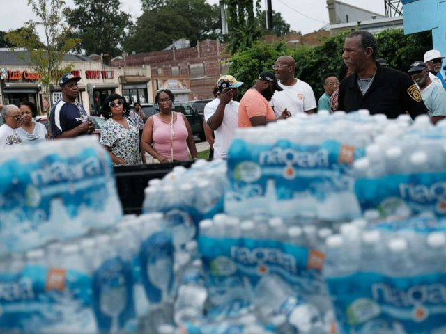 PHOTO: A pallet of bottled water is delivered to a recreation center, Aug. 13, 2019 in Newark, N.J., after lead was found in the tap water.