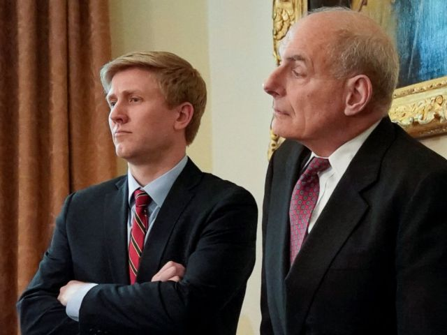 PHOTO: Nick Ayers (L), chief of staff to Vice President Mike Pence, and White House Chief of Staff John Kelly look on as President Donald Trump holds a cabinet meeting at the White House in Washington, May 9, 2018.