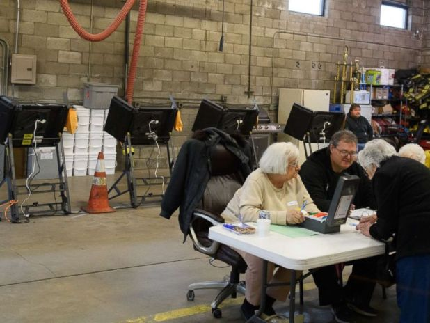 PHOTO: Citizens casting their votes in a special election between Democratic candidate Conor Lamb and Republican candidate Rick Saccone March 13, 2018 at the Blaine Hill Volunteer Fire Department in Elizabeth, Pa.