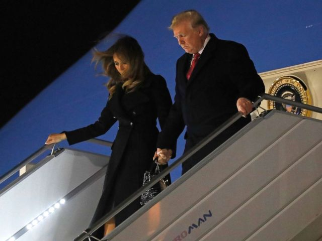 PHOTO: President Donald Trump and first lady Melania Trump alight from Air Force One, after arriving at Orly airport near Paris, FNov. 9, 2018.