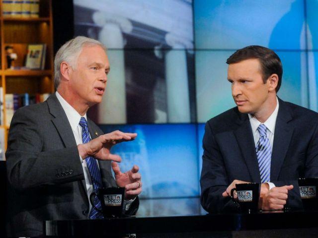 PHOTO: Sen. Ron Johnson and Sen. Chris Murphy appear on Meet the Press in Washington, Sept. 21, 2014.