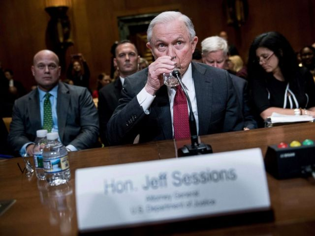 PHOTO: U.S. Attorney General Jeff Sessions waits for a hearing to begin as Matthew G. Whitaker, left, Chief of Staff to Attorney General Jeff Sessions sits behind him, on Capitol Hill, April 25, 2018.