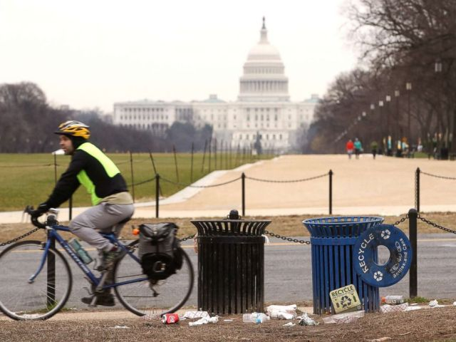 PHOTO: Trash lays on the grounds of the National Mall as the partial shutdown of the U.S. government goes into the 12th day, on Jan. 2, 2019, in Washington, D.C.