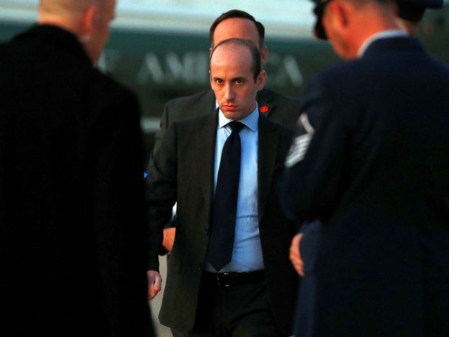 PHOTO: White House senior policy adviser Stephen Miller boards Air Force One to depart Washington with U.S. President Donald Trump for travel to Louisiana at Joint Base Andrews, Maryland, Nov. 14, 2019.
