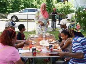 PHOTO: Tahirah Amatul-Wadud, who is running in the Democratic primary for U.S. Congress in Massachusetts, meets with people at a Mt. Zion Church event in Chicopee, Mass., July 21, 2018.