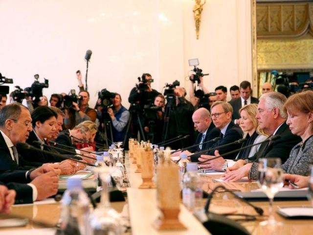 PHOTO: Russian Foreign Minister Lavrov gives opening remarks ahead of a bilateral meeting with U.S. Secretary of State Rex Tillerson and his delegation in Moscow, Russia, on April 12, 2017.