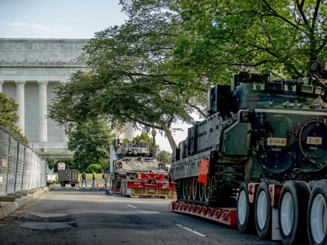 PHOTO: Two Bradley Fighting Vehicles are parked nearby the Lincoln Memorial for President Donald Trumps Salute to America event honoring service branches on Independence Day, July 2, 2019, in Washington D.C.