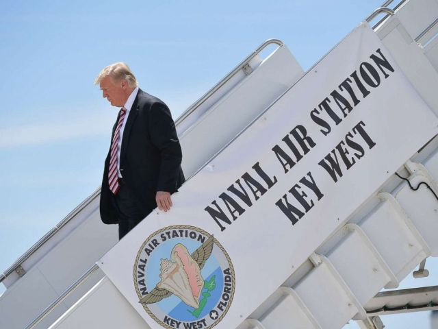 PHOTO: President Donald Trump steps off Air Force One upon arrival at Naval Air Station Key West in Key West, Fla., April 19, 2018.