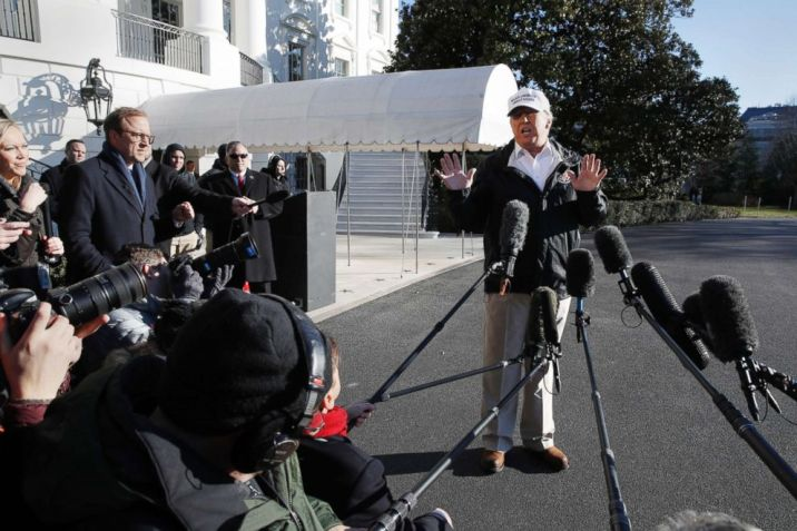 President Donald Trump speaks to the media as he leaves the White House, Jan. 10, 2019, en route for a trip to the border in Texas as the government shutdown continues.