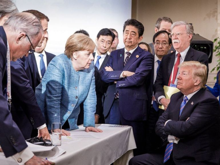 PHOTO: Steffen Seibert posted this photo on Twitter showing world leaders at the G-7 summit on June 9, 2018, in La Malbaie, Quebec, Canada.