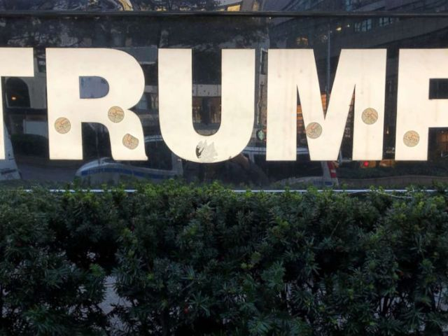 PHOTO: A sign at Trump International Hotel in New York City with I voted stickers the morning after the midterm election, Nov. 7, 2018.