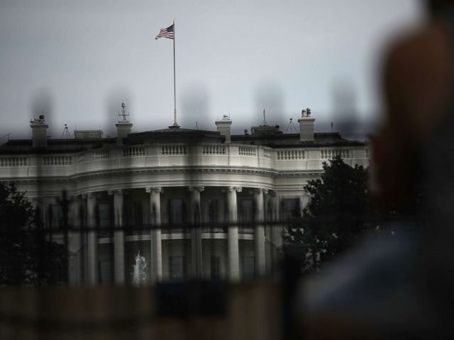 The American flag at the White House flies at full staff, Aug. 27, 2018. Sen. John McCain (R-AZ), a decorated American war hero, died August 25, 2018 at the age of 81, after a long battle with brain cancer.