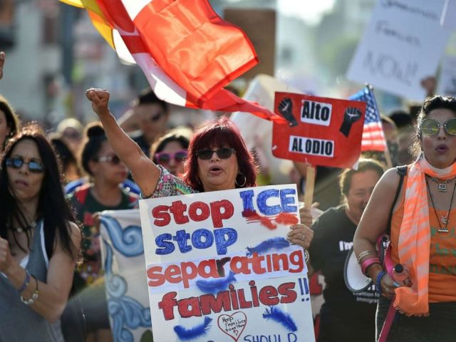 PHOTO: Critics of the U.S. policy which separates children their parents when they cross the border illegally from Mexico protest during a Families Belong Together March in downtown Los Angeles, June 14, 2018.