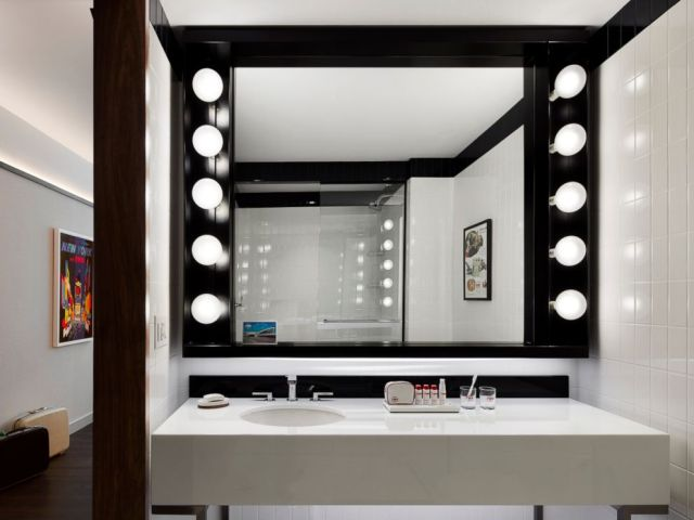 PHOTO: The star of the terrazzo-tiled bathroom is a custom Hollywood vanity with bubble lights inspired by Philip Johnsons iconic ladies lounge in New York Citys former Four Seasons restaurant.