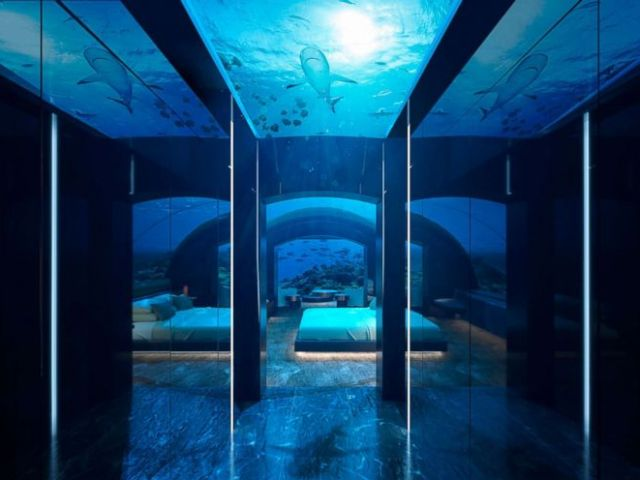 The design boasts 180-degree views of the Indian Oceans marine life.